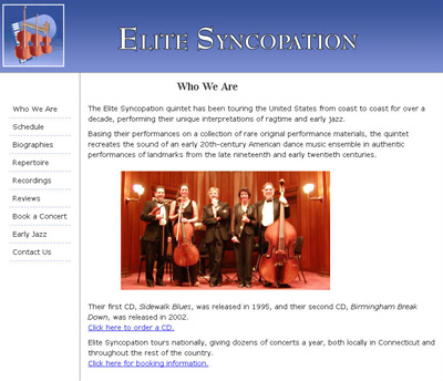 screen capture of Elite Syncopation website