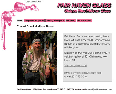 capture of Fair Haven Glass website