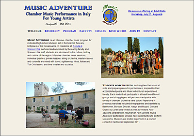 screen capture of Music Adventure website